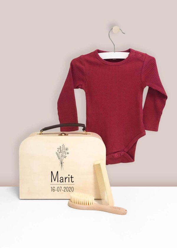 Kraamkoffer hout – Maroon Red